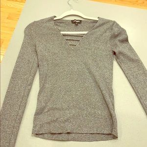 Express cut out v neck grey sweater